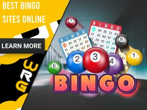 "Bingo background with a Bingo balls and logo. Yellow/white square to left with text ""Best Bingo Sites Online"", CTA below and WRG logo."