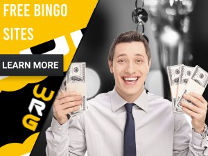 "Bingo background with a man holding money. Yellow/white square to left with text ""Free Bingo Sites"", CTA below and WRG logo."