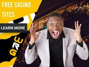 "Casino background with man with a man excited. Yellow/white square to left with text ""Free Casino Sites"", CTA below and WRG logo."
