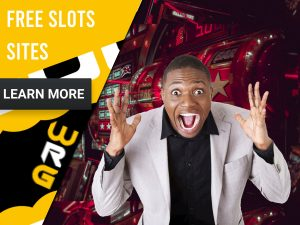"Casino background with man cheering and slots behind. Yellow/white square to left with text ""Free Slots Sites"", CTA below and WRG logo."