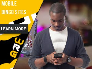 "Bingo background with a man on his phone. Yellow/white square to left with text ""Mobile Bingo Sites"", CTA below and WRG logo."