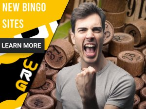 "Bingo background with a man cheering. Yellow/white square to left with text ""New Bingo Sites"", CTA below and WRG logo."